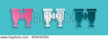Paper Cut Binoculars Icon Isolated On Blue Background. Find Software Sign. Spy Equipment Symbol. Pap