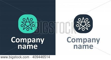 Logotype Pentagram In A Circle Icon Isolated On White Background. Magic Occult Star Symbol. Logo Des