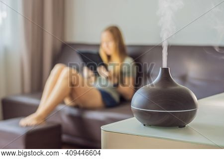 Aromatherapy Concept. Wooden Electric Ultrasonic Essential Oil Aroma Diffuser And Humidifier. Ultras