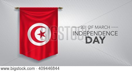 Tunisia Independence Day Greeting Card, Banner, Vector Illustration