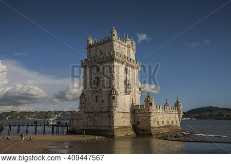 Lisbon, Portugal - April 18, 2019: Views Of The Belem Tower, A 16th Century Fortification Located In