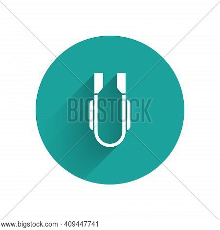 Paper Cut Meat Tongs Icon Isolated On Blue Background. Bbq Tongs Sign. Barbecue And Grill Tool. Pape