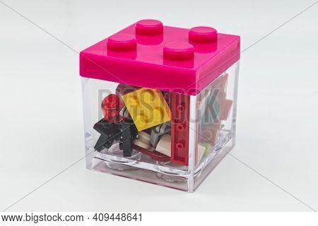Bologna - Italy - February 21, 2021: Transparent Lego Box With Lego Building Blocks Inside