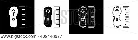 Set Square Measure Foot Size Icon Isolated On Black And White Background. Shoe Size, Bare Foot Measu