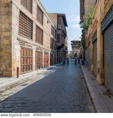 Cairo, Egypt- June 26 2020: Moez Street With Few Local Visitors And Sabil-kuttab Of Katkhuda Mamluk