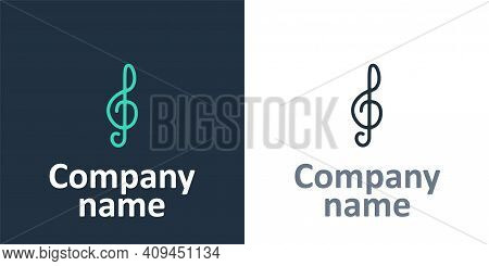 Logotype Treble Clef Icon Isolated On White Background. Logo Design Template Element. Vector