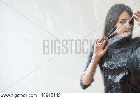Sad Woman. Defocused Art Portrait. Depression Crisis. Social Isolation. Psychology Barrier. Helpless