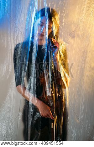 Musician Woman. Conceptual Art Portrait. Isolation Depression. Soul Searching. Lockdown Crisis. Sad