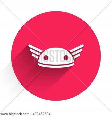 White Helmet With Wings Icon Isolated With Long Shadow. Greek God Hermes. Red Circle Button. Vector
