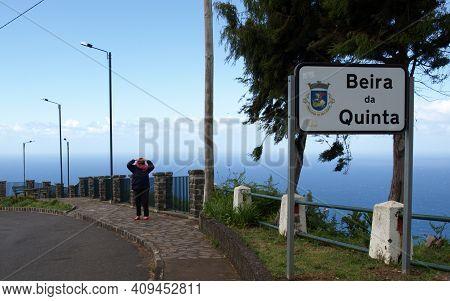 Beira Da Quinta, Madeira, Portugal - April, 20, 2018: Place-name Sign Of Beira Da Quinta On The Nort