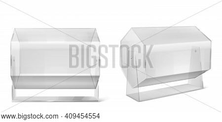 Lottery Machine, Transparent Raffle Drum Isolated On White Background. Vector Realistic Mockup Of 3d