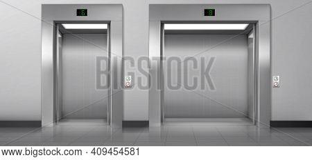Passenger And Cargo Elevators With Open Doors In Hallway. Vector Realistic Empty Modern Interior Wit