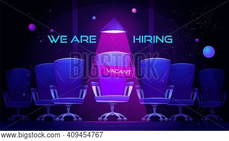 We Are Hiring Cartoon Banner With Vacant Chair Under Spotlight. Hire Job Announcement For Candidates