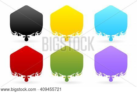 Label Drops Polygon Models With Six Variation Color Isolated White Background, Set Of Colorful Stick
