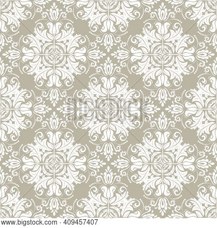 Classic Seamless Vector Pattern. Damask Orient Ornament. Classic Vintage Golden And White Background