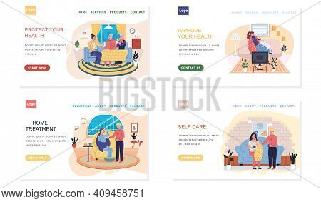 Set Of Illustrations About Medical Website With Treatment Advice. Effective Self Care. Characters Gi