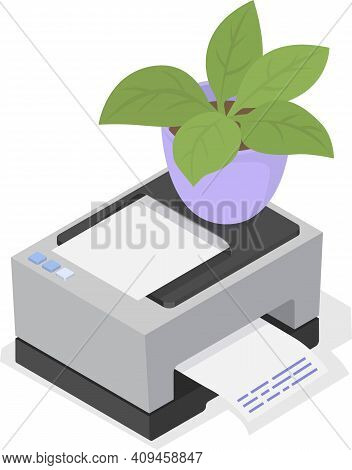 Printer With Paper And House Plant In Pot. Laser Copy Machine Office Or Home Household Appliance. Of