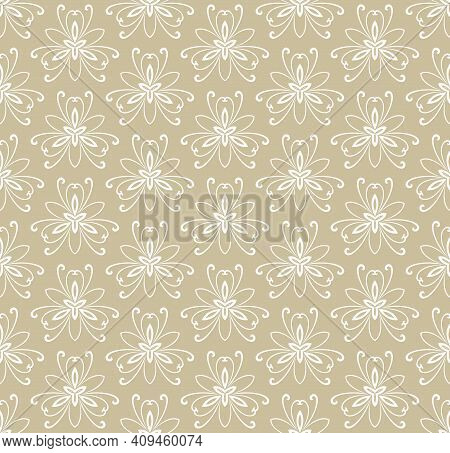 Floral Vector Ornament. Seamless Abstract Classic Background With Flowers. Pattern With Golden And W