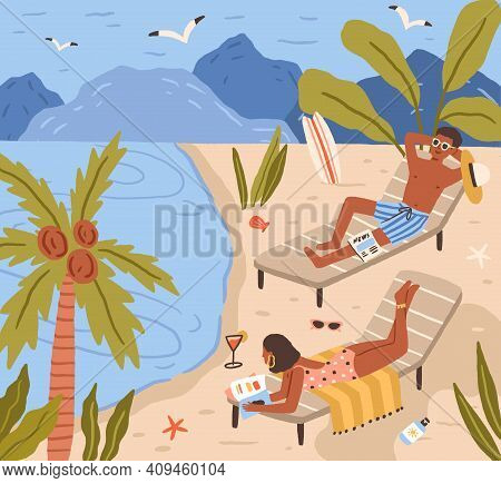 Young People Lying On Beach And Sunbathing At Sea Resort. Happy Man And Woman Resting And Relaxing A