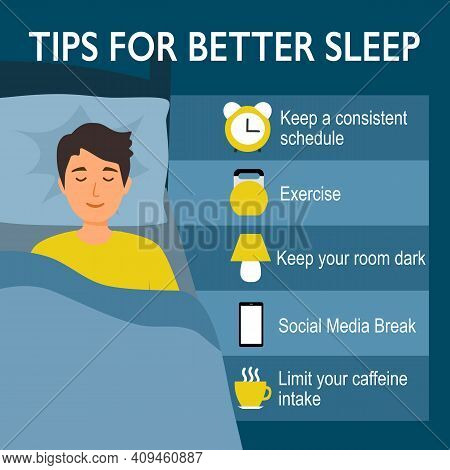 Tips For Better Sleep At Night Infographics. Sleeping Man In Bedroom And Useful Advices For Better S