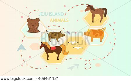 Jeju Island Animals Poster In Cartoon Style With Main Types Of Animals On Map. Green Island In South