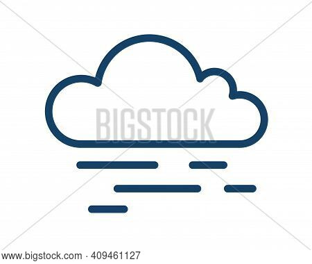 Cloud With Abstract Lines Of Fog Or Haze. Simple Icon Design Of Foggy And Hazy Weather. Linear Logo.