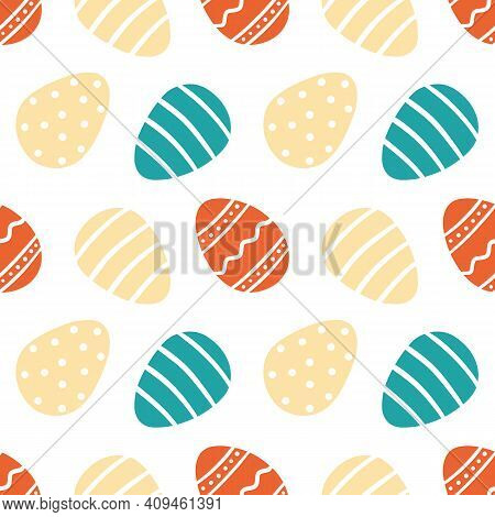 Decorated Easter Eggs Cute Cartoon Style Vector Seamless Pattern Background.