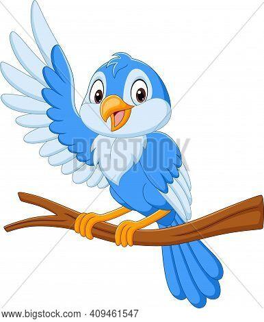 Vector Illustration Of Cartoon Blue Bird Waving On Tree Branch