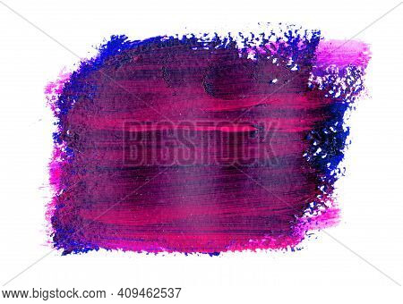 Purple Brushstroke With Pink Flecks And Texture On A White Background. Grunge Abstract Hand-painted