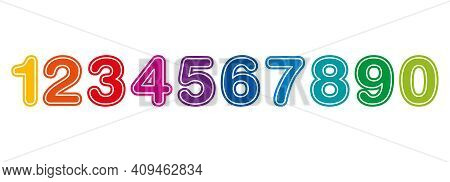 Rainbow Colored Numbers, From One To Zero, With A White Outline. Ten Colorful Numerals In A Row, Bol