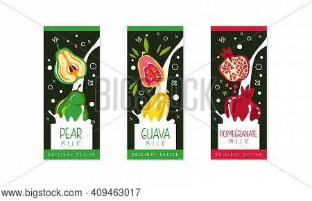 Fruit Milk Labels Set, Pear, Guava, Pomegranate Natural Dairy Products Banner, Branding, Packaging T