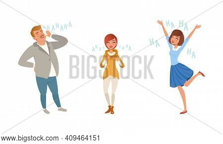 Excited Young Man And Women Laughing Out Loudly Set, Happy People Bursting With Laughter Cartoon Vec