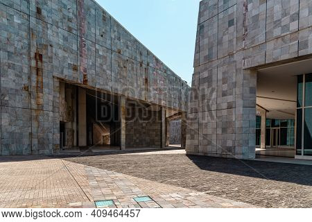 Santiago De Compostela, Spain - July 18, 2020: View Of City Of Culture Of Galicia. Situated On The T