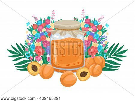 Apricot Jam In A Jar, Apricots And An Ornament With Flowers On The Background. Bright Design Illustr