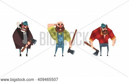 Bald Bearded Lumberjack In Action Set, Powerful Woodcutter Character With Axe Cartoon Vector Illustr