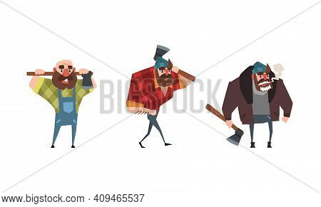 Lumberjack In Action Set, Powerful Woodcutter Character With Axe Cartoon Vector Illustration