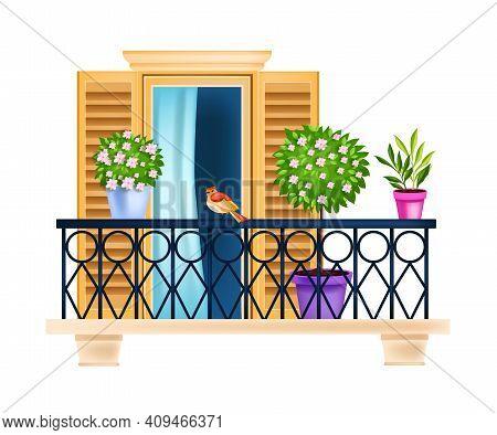 Vintage European Balcony, City Window Front View Vector Illustration, House Plants, Shutters, Rails,