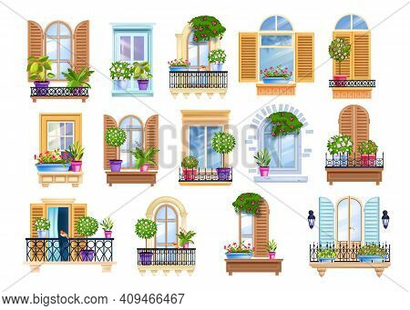 Old Town Window Frame, Vintage European Balcony Set With House Plants, Wooden Shutters, Rails, Glass