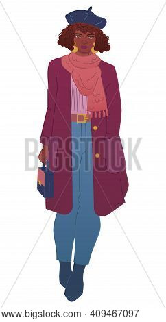 Curly Curvy African-american Lady Wears Trendy Outfit Marsala Coat, Snood Scarf And Beret Hat. Chubb