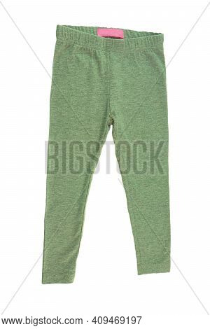 Sweatpants Isolated. A Loose Green Warm Trousers With An Elasticized Or Drawstring Waist, Worn When