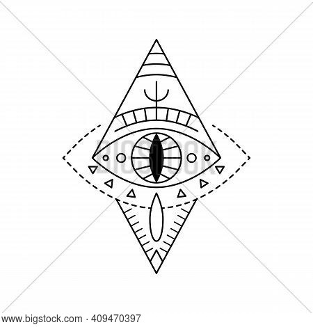 Geometric Vector Line Art Mystic Eye Tattoo. Boho Providence Sight Witchcraft Symbol In Rhombus Shap
