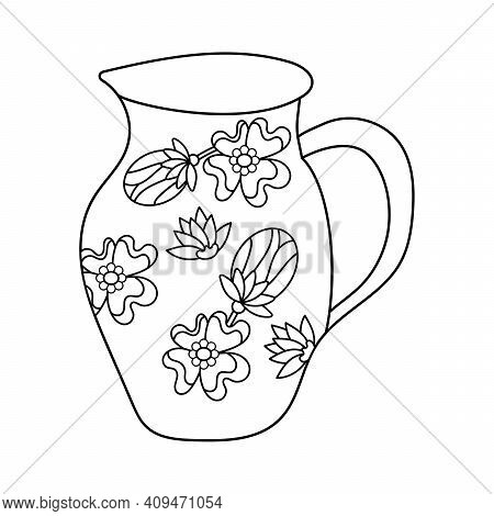 Coloring Book For Children. The Silhouette Of The Jug Is Decorated With Flowers And Buds. Black And