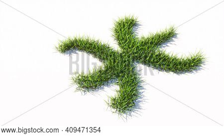 Concept or conceptual green summer lawn grass symbol shape isolated white background, sign of pisces zodiac sign. 3d illustration symbol for  esoteric, the mystic, the power of prediction of astrology