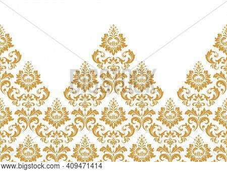 Wallpaper In The Style Of Baroque. Modern Vector Background. White And Gold Floral Ornament. Graphic