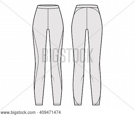 Yoga Pants Leggings Pants Technical Fashion Illustration With Normal Waist, High Rise, Full Length.
