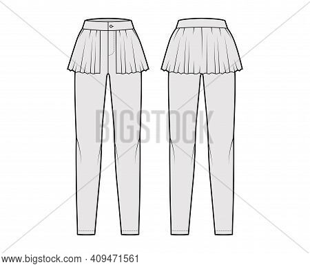 Pants Peplum Technical Fashion Illustration With Extended Normal Waist, High Rise, Full Length, Fril