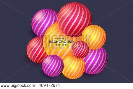 Colorful Abstract Background With Realistic 3d Balls. Bright Geometric Composition With Striped Sphe