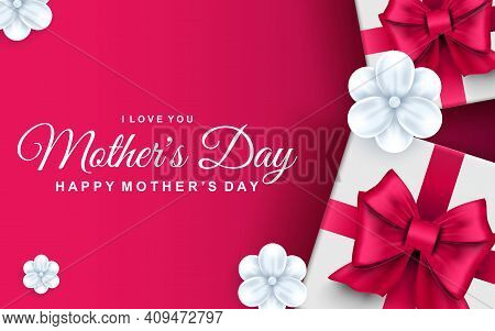 Happy Mothers Day Greeting Card. Gift Boxes With Pink Ribbon Bows And White Flowers. Family Holiday