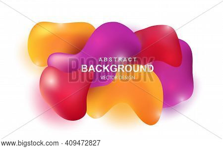 Colorful Abstract Background With Realistic 3d Objects. Bright Red, Orange And Purple Glossy Element