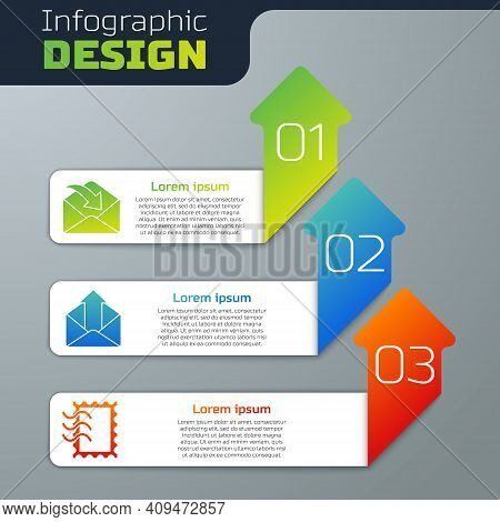 Set Envelope, Outgoing Mail And Postal Stamp. Business Infographic Template. Vector